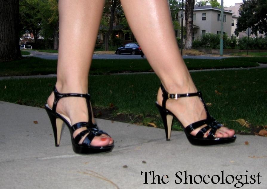 black patent strappy sandals